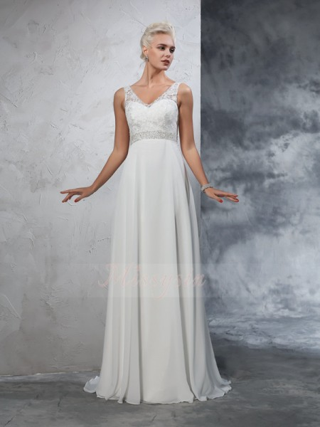 A-Line/Princess Sleeveless V-neck Court Train Ivory Wedding Dresses