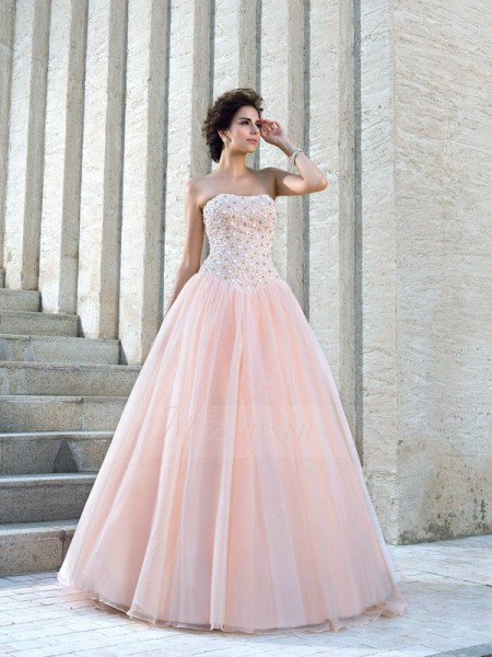 Ball Gown Sleeveless Strapless Long Pink Wedding Dresses