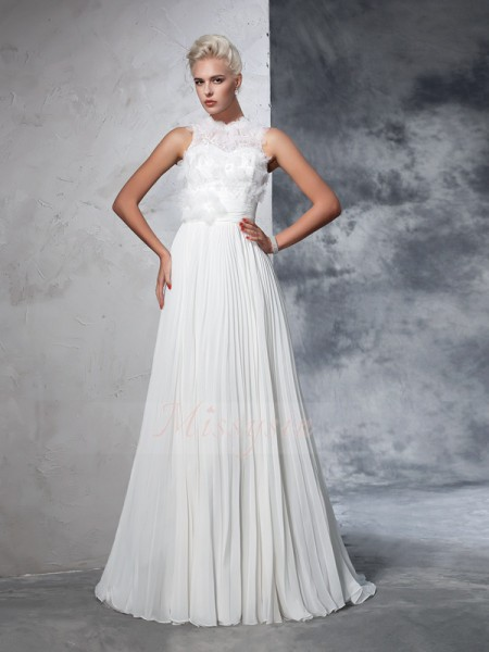 A-Line/Princess Sleeveless High Neck Court Train Ivory Wedding Dresses