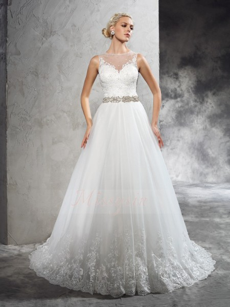 A-Line/Princess Sleeveless Sheer Neck Court Train Ivory Wedding Dresses