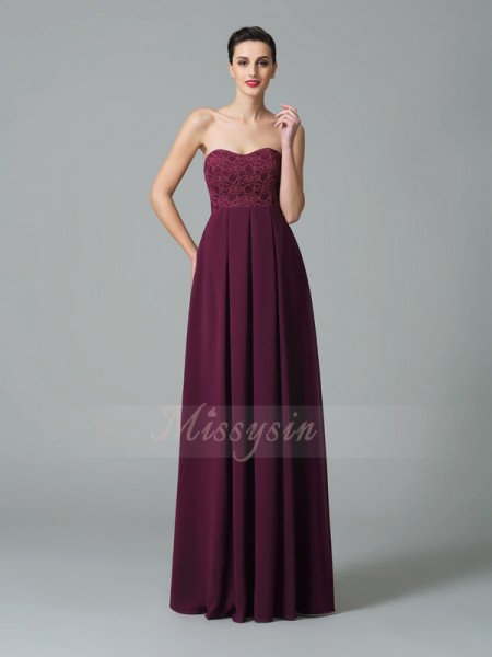 A-Line/Princess Sleeveless Sweetheart Long Burgundy Bridesmaid Dresses