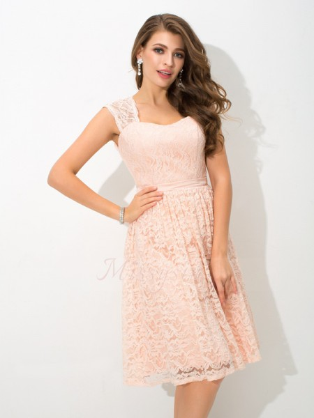 A-Line/Princess Sleeveless Straps Short Pearl Pink Bridesmaid Dresses