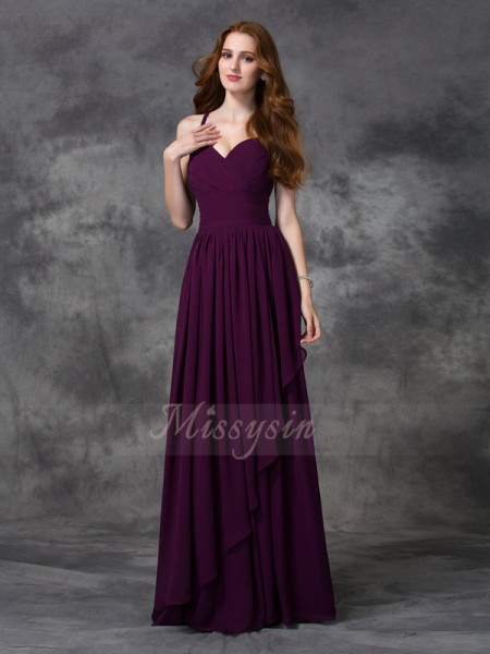 A-line/Princess Sleeveless Spaghetti Straps Long Burgundy Bridesmaid Dresses