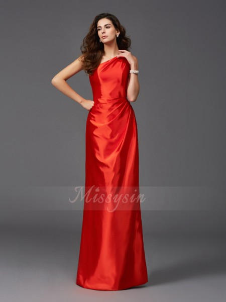 Sheath/Column Sleeveless One-Shoulder Long Red Bridesmaid dresses