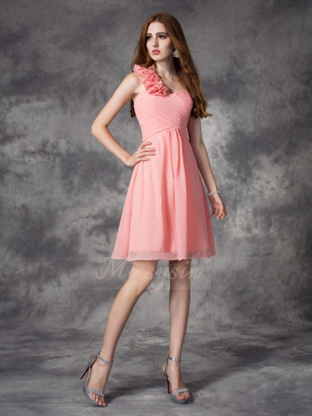 A-line/Princess Sleeveless One-Shoulder Short Pink Bridesmaid Dresses