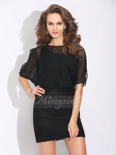 A-Line/Princess 1/2 Sleeves Jewel Short Black Dresses