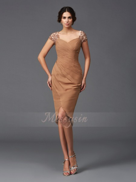 Sheath/Column Short Sleeves Sweetheart Asymmetrical Brown Dresses