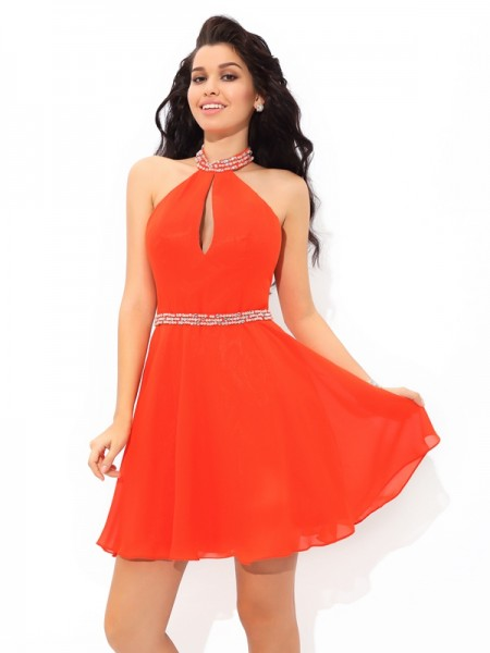A-Line/Princess Sleeveless Halter Short Orange Dresses
