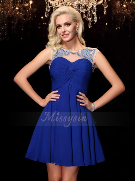 A-Line/Princess Sleeveless Scoop Short Royal Blue Dresses