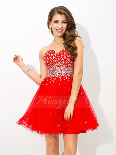 A-Line/Princess Sleeveless Sweetheart Short Red Dresses