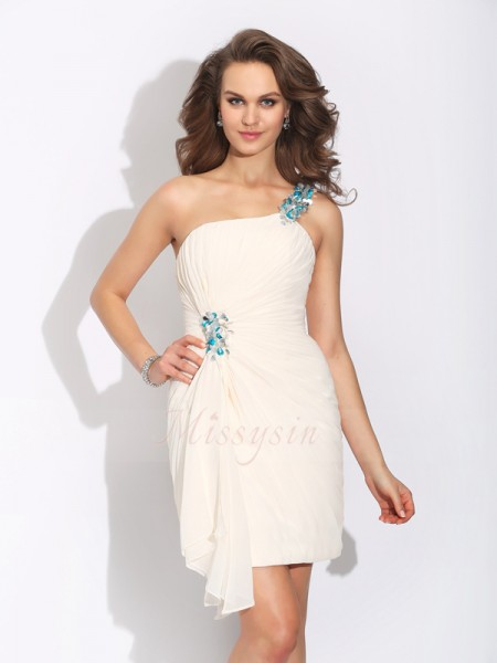 Sheath/Column Sleeveless One-Shoulder Short Ivory Dresses