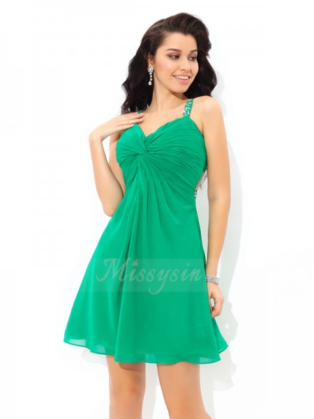 A-Line/Princess Sleeveless Straps Short Green Dresses