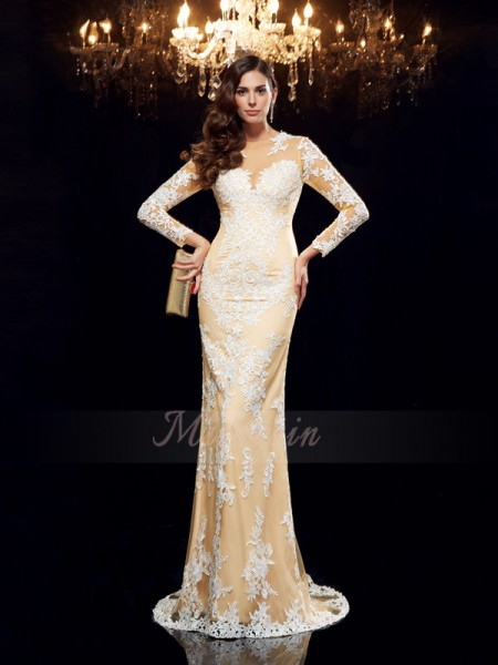 Sheath/Column 3/4 Sleeves Sheer Neck Sweep/Brush Train Champagne Dresses