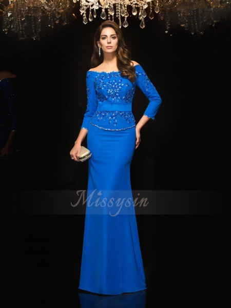Sheath/Column 3/4 Sleeves Off-the-Shoulder Long Royal Blue Dresses