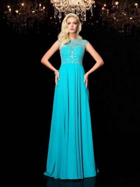 A-Line/Princess Short Sleeves Jewel Long Other Dresses