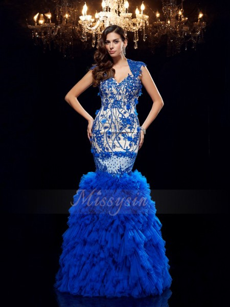 Trumpet/Mermaid Sleeveless Sweetheart Long Royal Blue Dresses