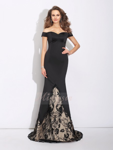 Trumpet/Mermaid Sleeveless Off-the-Shoulder Sweep/Brush Train Black Dresses