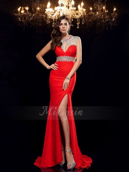 Trumpet/Mermaid Sleeveless Scoop Sweep/Brush Train Red Dresses