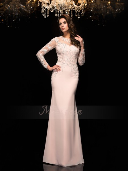 Sheath/Column 3/4 Sleeves Sheer Neck Long Pink Dresses