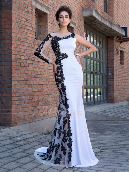 Trumpet/Mermaid Long Sleeves Scoop Sweep/Brush Train White Dresses
