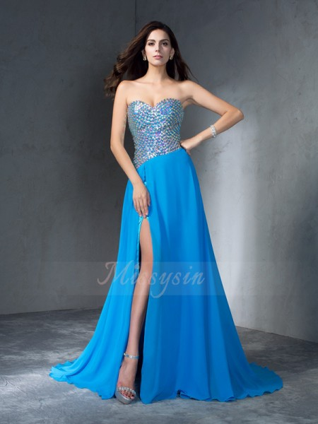 A-Line/Princess Sleeveless Sweetheart Sweep/Brush Train Blue Dresses