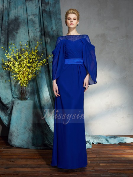 Sheath/Column Long Sleeves Bateau Long Royal Blue Dresses
