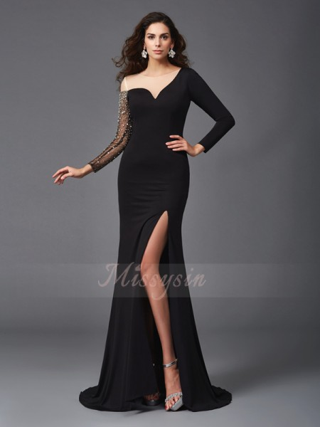 Sheath/Column 3/4 Sleeves Scoop Sweep/Brush Train Black dresses