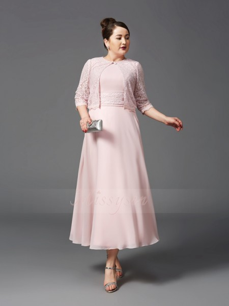 A-Line/Princess Sleeveless Jewel Ankle-Length Pearl Pink Mother of the Bride Dresses