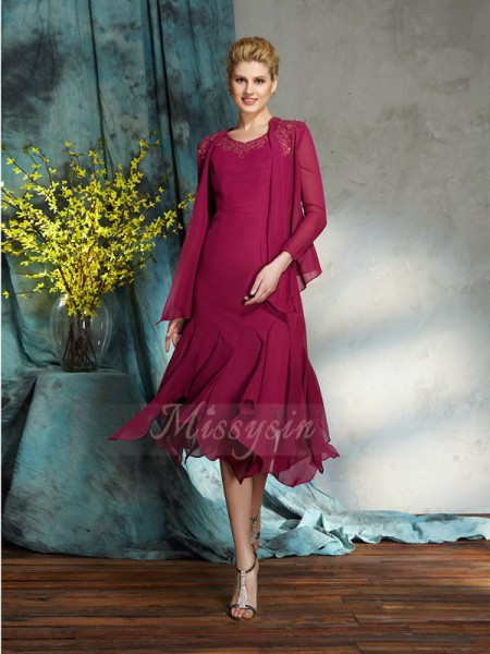 A-Line/Princess Sleeveless Scoop Short Burgundy Mother of the Bride Dresses