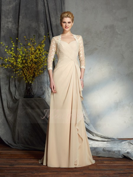A-Line/Princess 3/4 Sleeves Sweetheart Sweep/Brush Train Champagne Mother of the Bride Dresses