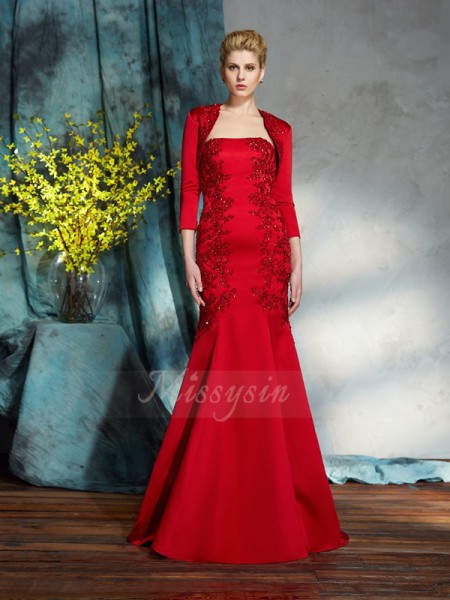 Trumpet/Mermaid Sleeveless Strapless Long Red Mother of the Bride Dresses