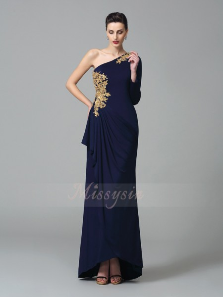 Sheath/Column Long Sleeves One-Shoulder Long Dark Navy Dresses