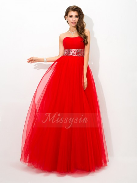 Ball Gown Sleeveless Strapless Long Red Dresses
