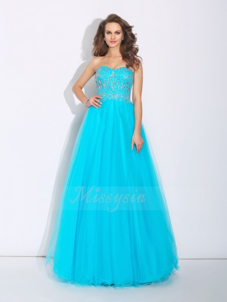 A-Line/Princess Sleeveless Sweetheart Long Blue Dresses
