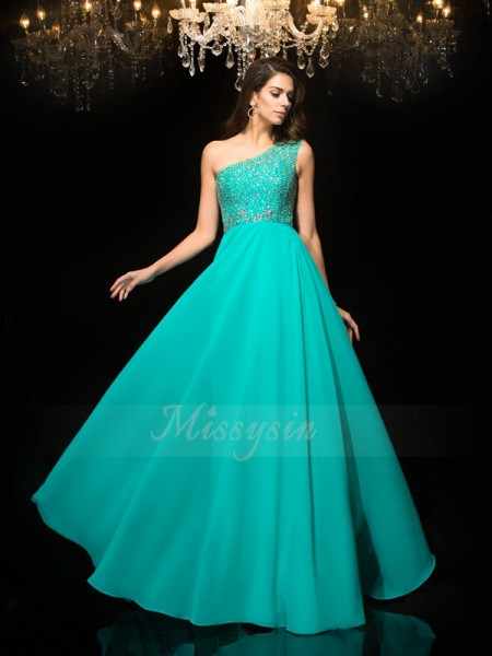 A-Line/Princess Sleeveless One-Shoulder Long Blue Dresses