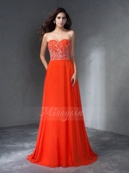 A-Line/Princess Sleeveless Sweetheart Sweep/Brush Train Orange Dresses