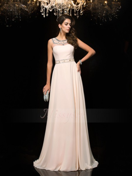 A-Line/Princess Sleeveless Scoop Long Pink Dresses