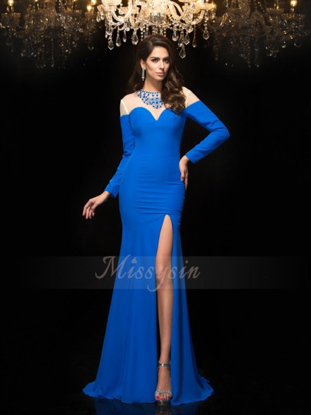 Sheath/Column Long Sleeves Jewel Long Blue Dresses