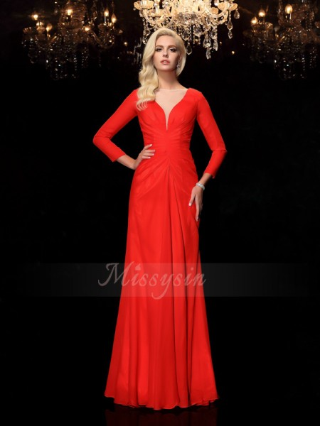 Sheath/Column Long Sleeves Bateau Long Red Dresses
