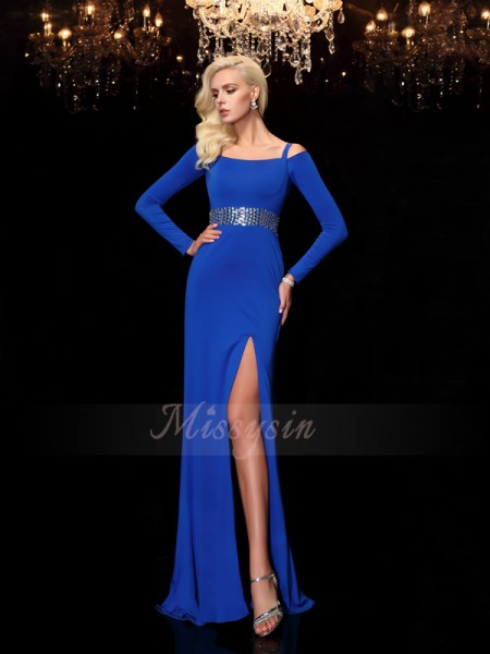 Sheath/Column Long Sleeves Bateau Sweep/Brush Train Royal Blue Dresses