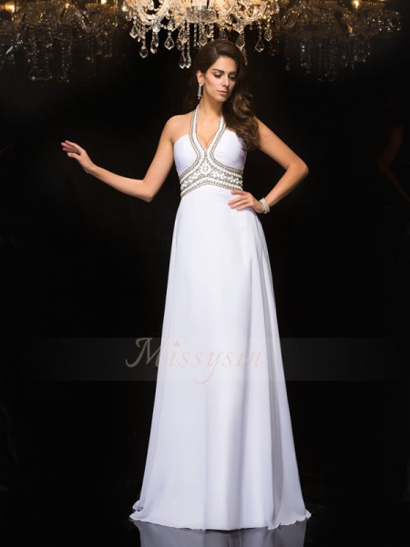 A-Line/Princess Sleeveless Halter Long White Dresses
