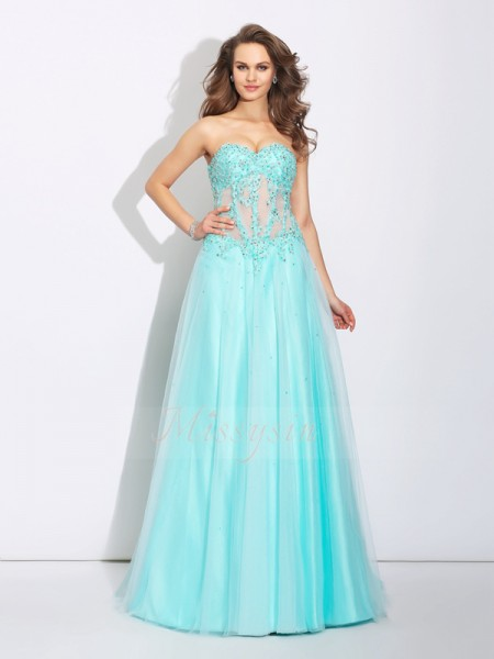A-Line/Princess Sleeveless Sweetheart Sweep/Brush Train Light Sky Blue Dresses
