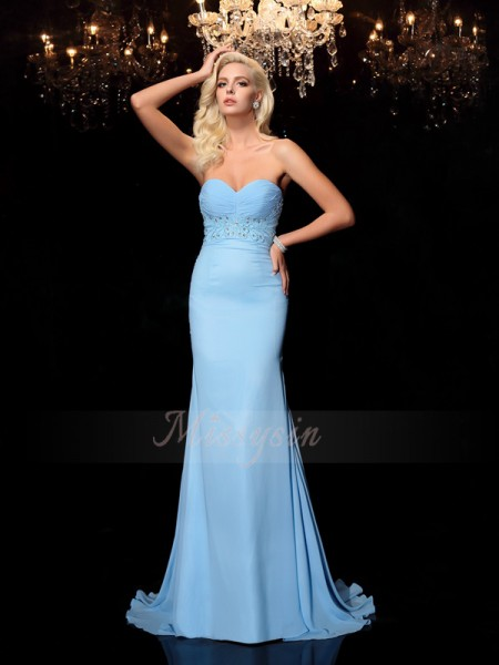 Trumpet/Mermaid Sleeveless Sweetheart Sweep/Brush Train Light Sky Blue Dresses