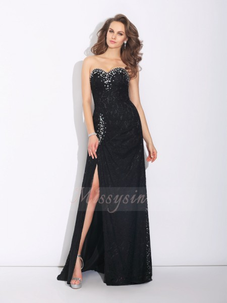 Sheath/Column Sleeveless Sweetheart Sweep/Brush Train Black Dresses