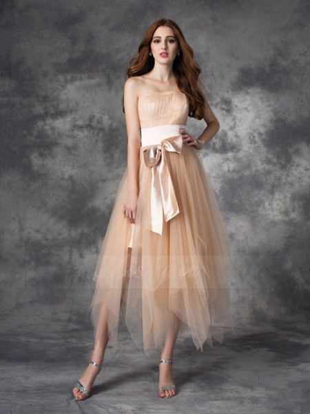A-line/Princess Sleeveless Strapless Ankle-Length Champagne Dresses