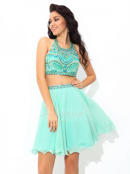 A-Line/Princess Sleeveless Sheer Neck Short Blue Dresses