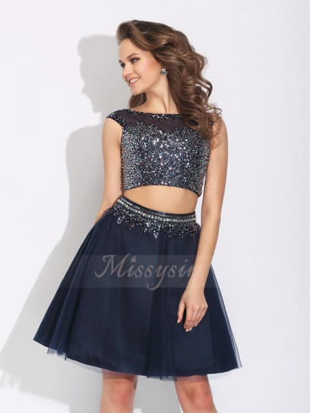 A-Line/Princess Sleeveless Bateau Short Dark Navy Dresses