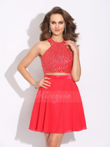 A-Line/Princess Sleeveless Jewel Short Red Dresses