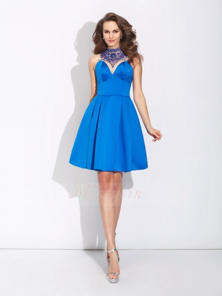 A-Line/Princess Sleeveless High Neck Short Royal Blue Dresses