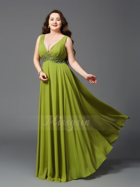 A-Line/Princess Sleeveless Straps Long Green Dresses
